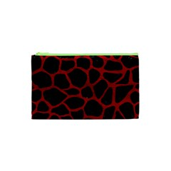 Skin1 Black Marble & Red Leather Cosmetic Bag (xs) by trendistuff