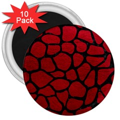 Skin1 Black Marble & Red Leather (r) 3  Magnets (10 Pack)  by trendistuff