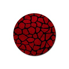 Skin1 Black Marble & Red Leather (r) Rubber Round Coaster (4 Pack)  by trendistuff