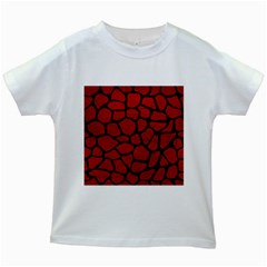 Skin1 Black Marble & Red Leather (r) Kids White T Shirts by trendistuff