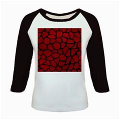 Skin1 Black Marble & Red Leather (r) Kids Baseball Jerseys by trendistuff