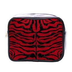 Skin2 Black Marble & Red Leather Mini Toiletries Bags by trendistuff