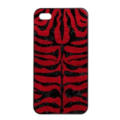 Skin2 Black Marble & Red Leather Apple Iphone 4/4s Seamless Case (black)
