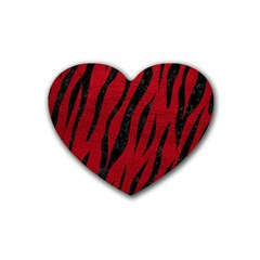 Skin3 Black Marble & Red Leather Heart Coaster (4 Pack)  by trendistuff
