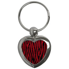 Skin4 Black Marble & Red Leather Key Chains (heart)  by trendistuff