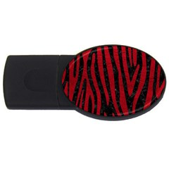Skin4 Black Marble & Red Leather Usb Flash Drive Oval (4 Gb) by trendistuff