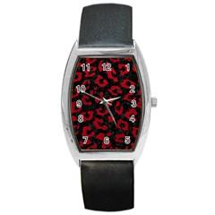 Skin5 Black Marble & Red Leather Barrel Style Metal Watch by trendistuff