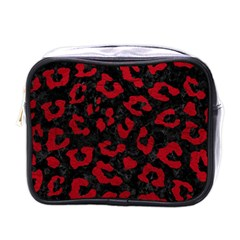 Skin5 Black Marble & Red Leather Mini Toiletries Bags by trendistuff