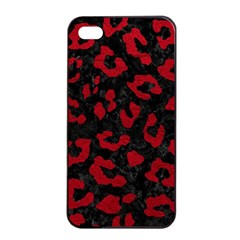 Skin5 Black Marble & Red Leather Apple Iphone 4/4s Seamless Case (black)