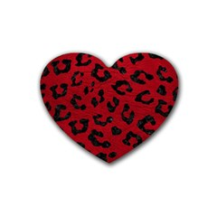 Skin5 Black Marble & Red Leather (r) Rubber Coaster (heart)  by trendistuff