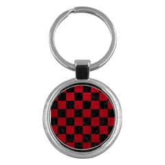 Square1 Black Marble & Red Leather Key Chains (round)  by trendistuff