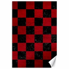 Square1 Black Marble & Red Leather Canvas 24  X 36  by trendistuff
