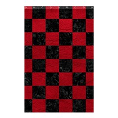 Square1 Black Marble & Red Leather Shower Curtain 48  X 72  (small)  by trendistuff