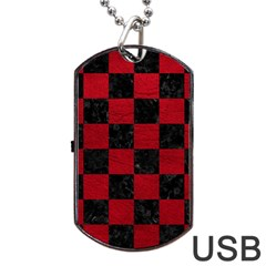 Square1 Black Marble & Red Leather Dog Tag Usb Flash (one Side) by trendistuff