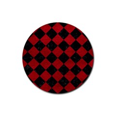 Square2 Black Marble & Red Leather Rubber Coaster (round)  by trendistuff