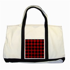 Square2 Black Marble & Red Leather Two Tone Tote Bag by trendistuff