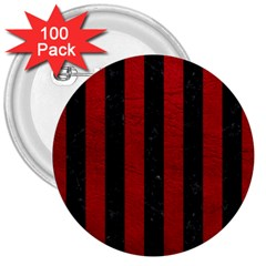 Stripes1 Black Marble & Red Leather 3  Buttons (100 Pack)