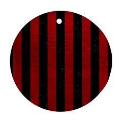 Stripes1 Black Marble & Red Leather Round Ornament (two Sides) by trendistuff