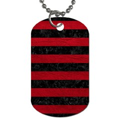 Stripes2 Black Marble & Red Leather Dog Tag (two Sides) by trendistuff