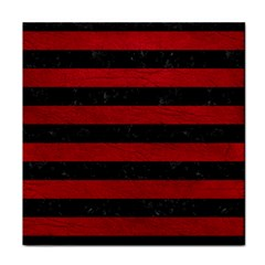 Stripes2 Black Marble & Red Leather Face Towel by trendistuff