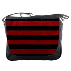 Stripes2 Black Marble & Red Leather Messenger Bags by trendistuff