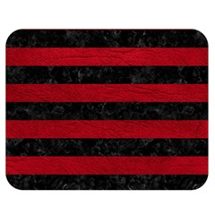 Stripes2 Black Marble & Red Leather Double Sided Flano Blanket (medium)  by trendistuff