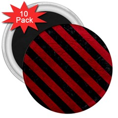 Stripes3 Black Marble & Red Leather 3  Magnets (10 Pack)  by trendistuff