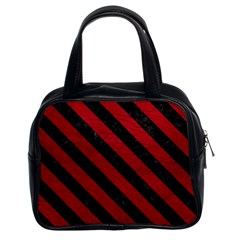 Stripes3 Black Marble & Red Leather Classic Handbags (2 Sides) by trendistuff