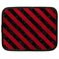 Stripes3 Black Marble & Red Leather Netbook Case (xl)  by trendistuff