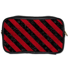 Stripes3 Black Marble & Red Leather Toiletries Bags by trendistuff