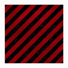 Stripes3 Black Marble & Red Leather (r) Medium Glasses Cloth by trendistuff
