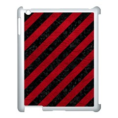Stripes3 Black Marble & Red Leather (r) Apple Ipad 3/4 Case (white) by trendistuff