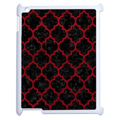 Tile1 Black Marble & Red Leather (r) Apple Ipad 2 Case (white) by trendistuff
