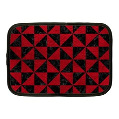 Triangle1 Black Marble & Red Leather Netbook Case (medium)  by trendistuff