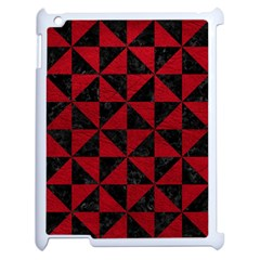 Triangle1 Black Marble & Red Leather Apple Ipad 2 Case (white) by trendistuff