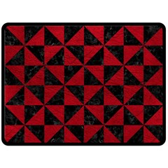 Triangle1 Black Marble & Red Leather Double Sided Fleece Blanket (large)  by trendistuff