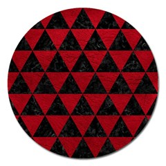 Triangle3 Black Marble & Red Leather Magnet 5  (round)