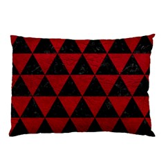 Triangle3 Black Marble & Red Leather Pillow Case (two Sides) by trendistuff
