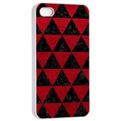 Triangle3 Black Marble & Red Leather Apple Iphone 4/4s Seamless Case (white) by trendistuff