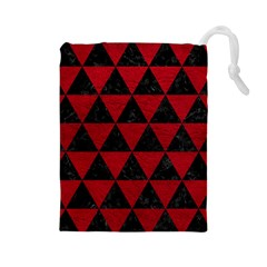 Triangle3 Black Marble & Red Leather Drawstring Pouches (large)  by trendistuff