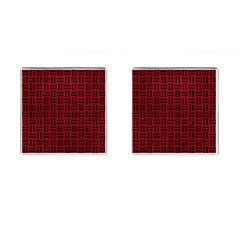 Woven1 Black Marble & Red Leather Cufflinks (square) by trendistuff