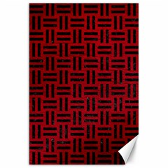 Woven1 Black Marble & Red Leather Canvas 20  X 30   by trendistuff