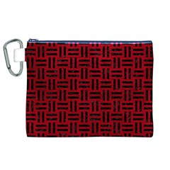 Woven1 Black Marble & Red Leather Canvas Cosmetic Bag (xl) by trendistuff