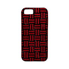 Woven1 Black Marble & Red Leather (r) Apple Iphone 5 Classic Hardshell Case (pc+silicone) by trendistuff