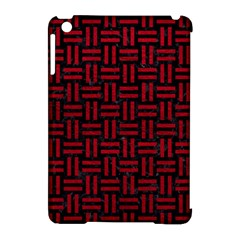Woven1 Black Marble & Red Leather (r) Apple Ipad Mini Hardshell Case (compatible With Smart Cover) by trendistuff