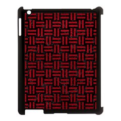 Woven1 Black Marble & Red Leather (r) Apple Ipad 3/4 Case (black) by trendistuff
