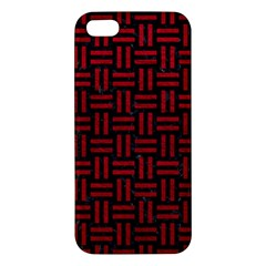 Woven1 Black Marble & Red Leather (r) Iphone 5s/ Se Premium Hardshell Case by trendistuff