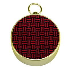 Woven1 Black Marble & Red Leather (r) Gold Compasses by trendistuff