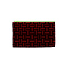 Woven1 Black Marble & Red Leather (r) Cosmetic Bag (xs) by trendistuff