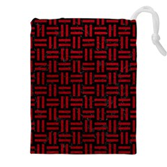 Woven1 Black Marble & Red Leather (r) Drawstring Pouches (xxl) by trendistuff